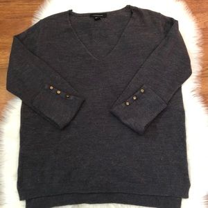 Atmosphere Charcoal Gray V Neck Sweater